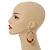Large Multicoloured Glass & Wood Bead Hoop Earrings In Silver Plating - 8cm Length - view 2