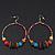 Large Multicoloured Glass & Wood Bead Hoop Earrings In Silver Plating - 8cm Length - view 11