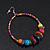 Large Multicoloured Glass & Wood Bead Hoop Earrings In Silver Plating - 8cm Length - view 10