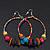 Large Multicoloured Glass & Wood Bead Hoop Earrings In Silver Plating - 8cm Length - view 9