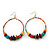 Large Multicoloured Glass & Wood Bead Hoop Earrings In Silver Plating - 8cm Length - view 7