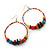 Large Multicoloured Glass & Wood Bead Hoop Earrings In Silver Plating - 8cm Length - view 6