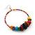 Large Multicoloured Glass & Wood Bead Hoop Earrings In Silver Plating - 8cm Length - view 4
