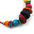 Large Multicoloured Glass & Wood Bead Hoop Earrings In Silver Plating - 8cm Length - view 8