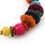 Large Multicoloured Glass & Wood Bead Hoop Earrings In Silver Plating - 8cm Length - view 5