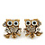 'Wise Owl' Crystal Paved Stud Earrings (Gold Plated) - 2cm Length