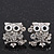 'Wise Owl' Crystal Paved Stud Earrings (Silver Plated) - 2cm Length