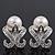 Bridal Diamante White Faux Pearl Stud Earrings In Rhodium Plating - 2cm Length
