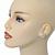 Bridal Diamante Faux Pearl Stud Earrings In Rhodium Plating - 17mm Diameter - view 2
