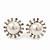 Bridal Diamante Faux Pearl Stud Earrings In Rhodium Plating - 17mm Diameter - view 4