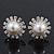 Bridal Diamante Faux Pearl Stud Earrings In Rhodium Plating - 17mm Diameter - view 3