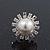 Bridal Diamante Faux Pearl Stud Earrings In Rhodium Plating - 17mm Diameter - view 5