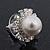 Bridal Diamante Faux Pearl Stud Earrings In Rhodium Plating - 17mm Diameter - view 6