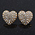 Clear Crystal Pave Set 'Heart' Stud Earrings In Gold Plating - 18mm Diameter