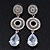 Bridal Clear Swarovski Crystal and CZ Chandelier Earrings In Silver Plating - 60mm Length