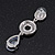 Bridal Clear Swarovski Crystal and CZ Chandelier Earrings In Silver Plating - 60mm Length - view 8