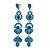 Long Luxury Teal Crystal Drop Earrings In Rhodium Plating - Length 9cm