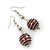 Silver Tone Chocolate Brown Faux Pearl Drop Earrings - 5.5cm Drop - view 2