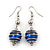 Silver Tone Navy Blue Faux Pearl Drop Earrings - 5.5cm Drop - view 1