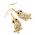 Clear Diamante 'Owl' Drop Earrings In Gold Plating - 4.5cm Length