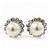 Teen Small Diamante, Simulated Pearl Stud Earrings In Rhodium Plating - 12mm Diameter - view 5