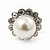 Teen Small Diamante, Simulated Pearl Stud Earrings In Rhodium Plating - 12mm Diameter - view 6