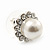 Teen Small Diamante, Simulated Pearl Stud Earrings In Rhodium Plating - 12mm Diameter - view 7