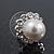 Teen Small Diamante, Simulated Pearl Stud Earrings In Rhodium Plating - 12mm Diameter - view 3