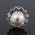 Teen Small Diamante, Simulated Pearl Stud Earrings In Rhodium Plating - 12mm Diameter - view 2