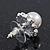 Teen Small Diamante, Simulated Pearl Stud Earrings In Rhodium Plating - 12mm Diameter - view 4