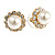 Small Classic Diamante Simulated Glass Pearl Stud Earrings In Gold Plating - 12mm Diameter