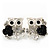 'Wise Owl With Rose' Crystal Paved Stud Earrings In Rhodium Plating - 2cm Length