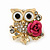'Wise Owl With Rose' Crystal Paved Stud Earrings In Gold Plating - 2cm Length - view 2