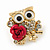 'Wise Owl With Rose' Crystal Paved Stud Earrings In Gold Plating - 2cm Length - view 3