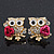 'Wise Owl With Rose' Crystal Paved Stud Earrings In Gold Plating - 2cm Length - view 4