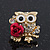 'Wise Owl With Rose' Crystal Paved Stud Earrings In Gold Plating - 2cm Length - view 5