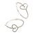 Rhodium Plated Clear Crystal 'Heart' Hoop Earrings - 5cm Diameter