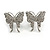 Rhodium Plated Pave Set Butterfly Stud Earrings - 26mm Length