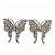 Rhodium Plated Pave Set Butterfly Stud Earrings - 26mm Length - view 7
