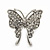 Rhodium Plated Pave Set Butterfly Stud Earrings - 26mm Length - view 5