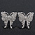 Rhodium Plated Pave Set Butterfly Stud Earrings - 26mm Length - view 2