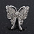 Rhodium Plated Pave Set Butterfly Stud Earrings - 26mm Length - view 3