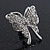 Rhodium Plated Pave Set Butterfly Stud Earrings - 26mm Length - view 4