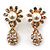 Clear Diamante Simulated Pearl 'Flower' Drop Earrings In Gold Plating - 2cm Length - view 5