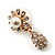 Clear Diamante Simulated Pearl 'Flower' Drop Earrings In Gold Plating - 2cm Length - view 9