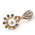 Clear Diamante Simulated Pearl 'Flower' Drop Earrings In Gold Plating - 2cm Length - view 10