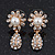 Clear Diamante Simulated Pearl 'Flower' Drop Earrings In Gold Plating - 2cm Length - view 4