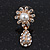 Clear Diamante Simulated Pearl 'Flower' Drop Earrings In Gold Plating - 2cm Length - view 6
