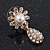Clear Diamante Simulated Pearl 'Flower' Drop Earrings In Gold Plating - 2cm Length - view 7