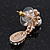 Clear Diamante Simulated Pearl 'Flower' Drop Earrings In Gold Plating - 2cm Length - view 8